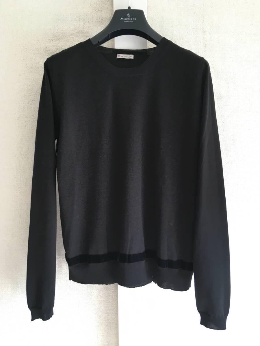 新品 本物 モンクレール ウール シルク プリーツ ドッキング ニット XS 黒 ブラック MONCLER ニット セーター 異素材 トップス カットソー