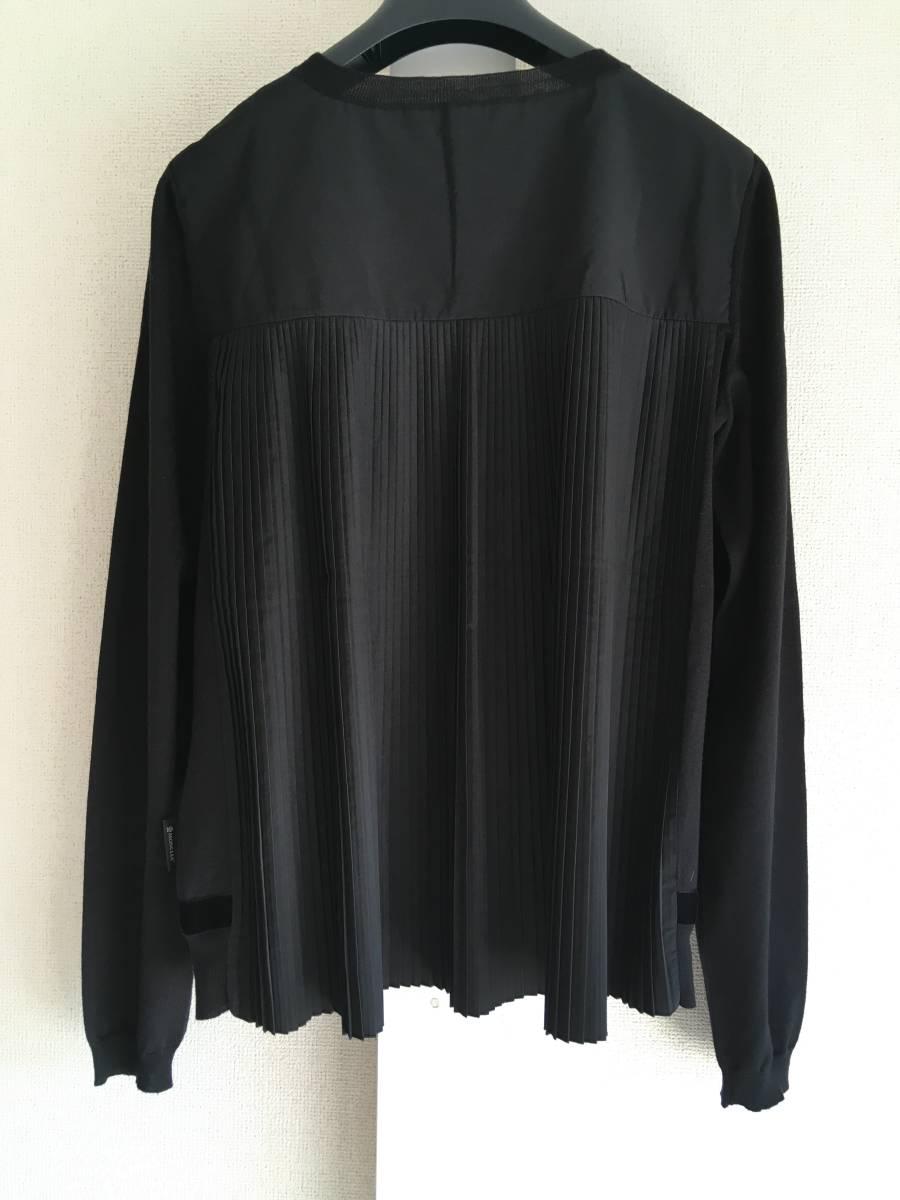 新品 本物 モンクレール ウール シルク プリーツ ドッキング ニット XS 黒 ブラック MONCLER ニット セーター 異素材 トップス カットソー_画像2