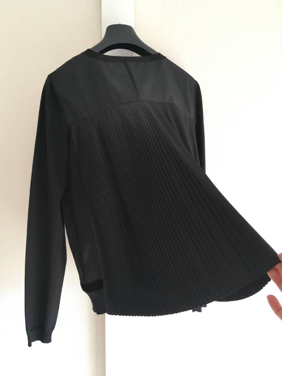 新品 本物 モンクレール ウール シルク プリーツ ドッキング ニット XS 黒 ブラック MONCLER ニット セーター 異素材 トップス カットソー_画像3