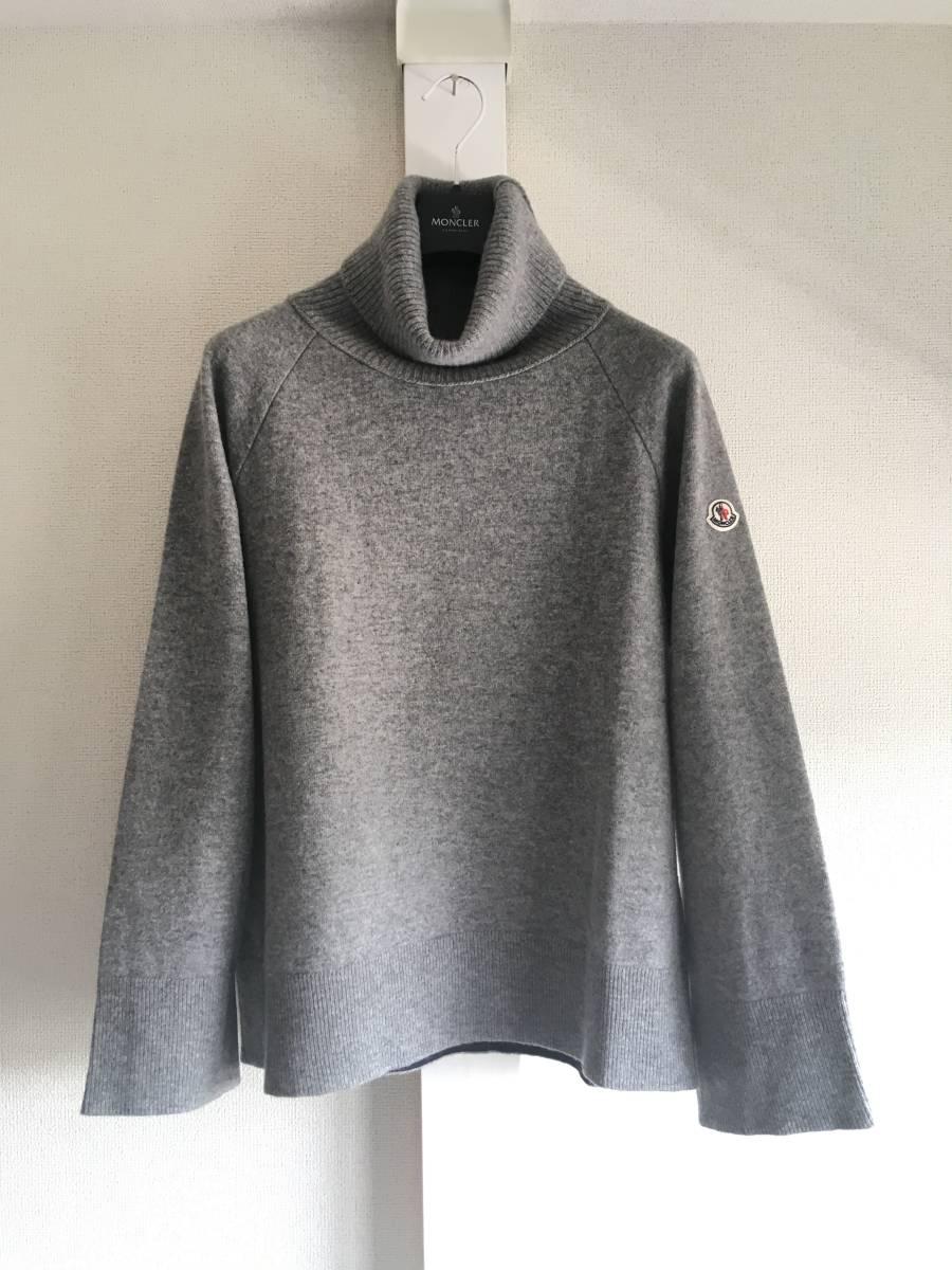 新品 本物 モンクレール ヴァージン ウール ハイネック ニット L グレー MONCLER セーター トップス ロゴ ワッペン 裏付き