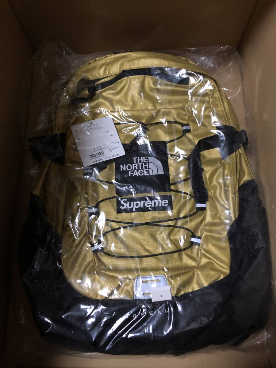 新品 18ss supreme × the north face metallic borealis backpack box logo gold 金 ゴールド box ノース ノースフェイス シュプリーム