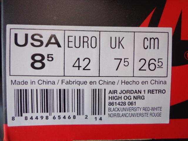 新品 国内正規 18年製 NIKE AIR JORDAN 1 RETRO HIGH OG NRG HOMAGE TO HOME ナイキ ジョーダン レトロ オマージュ トゥ ホーム US8.5 26.5_画像7
