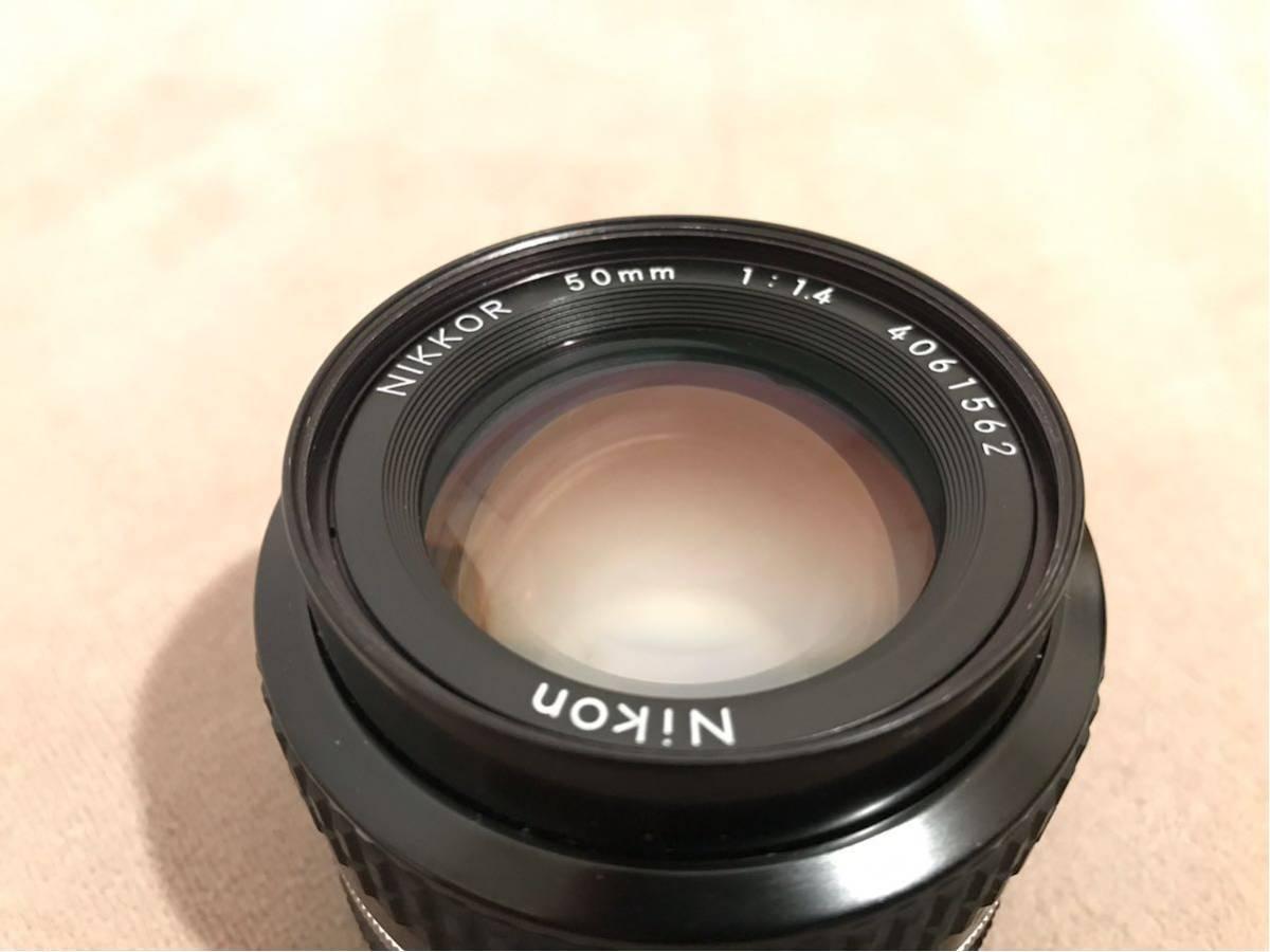 1円~最落なし NIKON ニコン Ai NIKKOR 50mm f1.4 単焦点レンズ フィルムカメラ フード付 美品_画像2