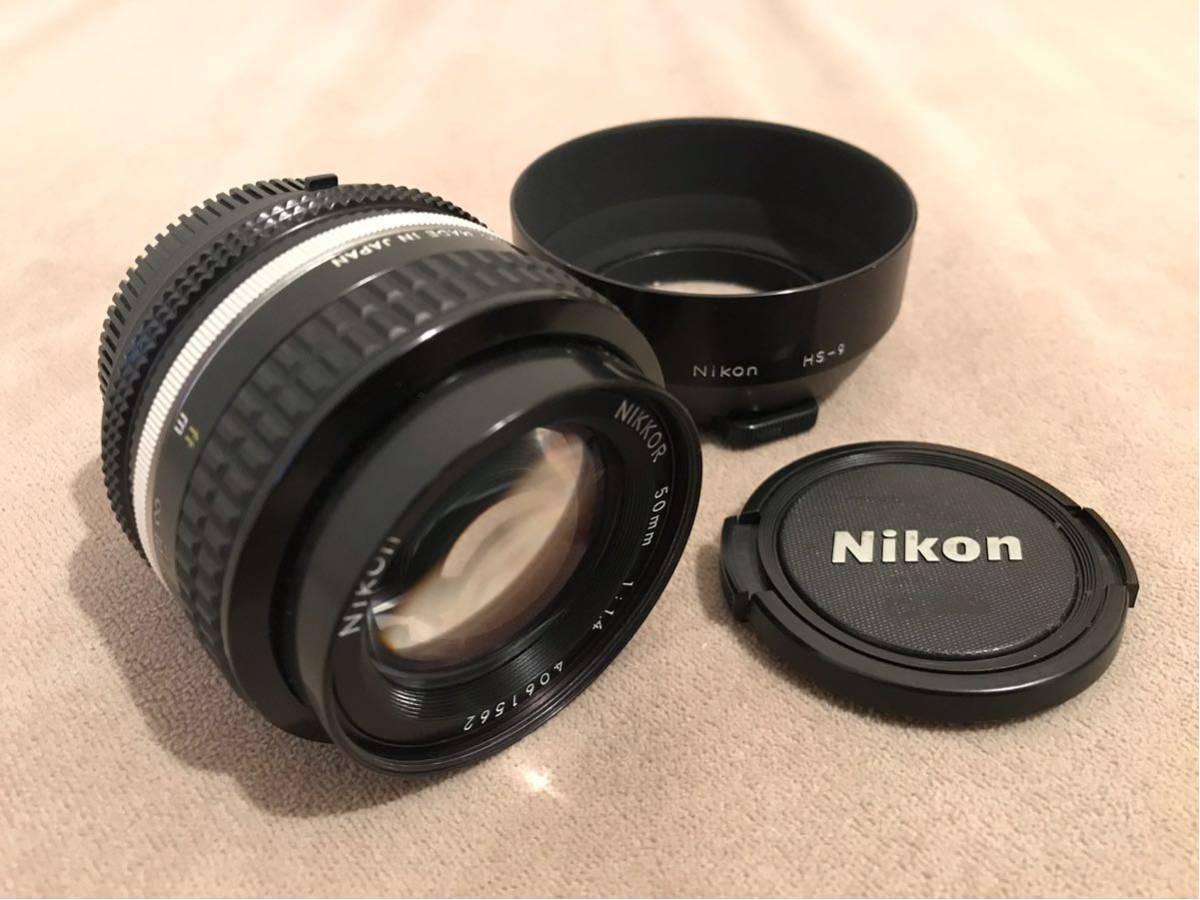 1円~最落なし NIKON ニコン Ai NIKKOR 50mm f1.4 単焦点レンズ フィルムカメラ フード付 美品