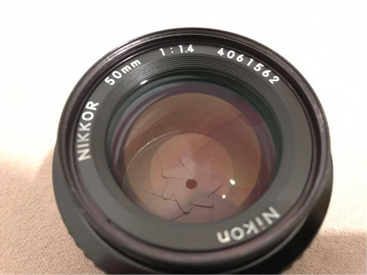 1円~最落なし NIKON ニコン Ai NIKKOR 50mm f1.4 単焦点レンズ フィルムカメラ フード付 美品_画像3