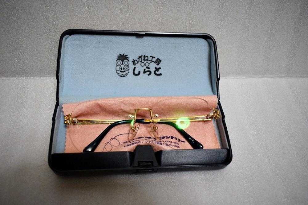 模様がカッコイイ!!鼈甲? K18高級メガネ 総重量約32g★金フレーム、度有!