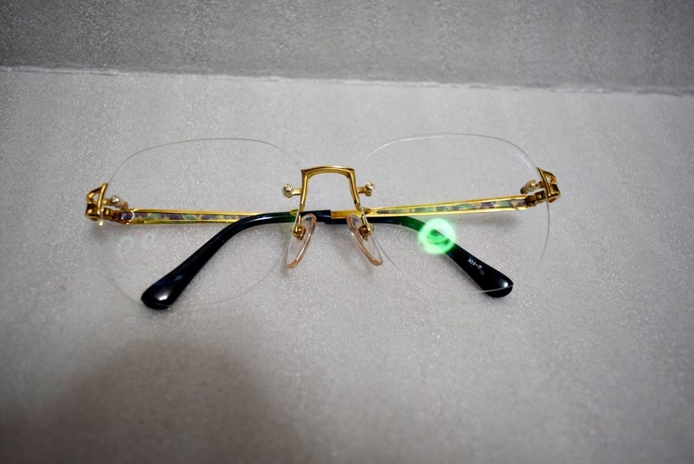 模様がカッコイイ!!鼈甲? K18高級メガネ 総重量約32g★金フレーム、度有!_画像2