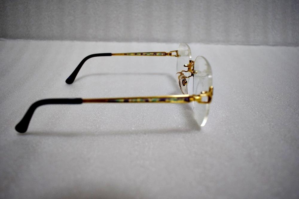 模様がカッコイイ!!鼈甲? K18高級メガネ 総重量約32g★金フレーム、度有!_画像5