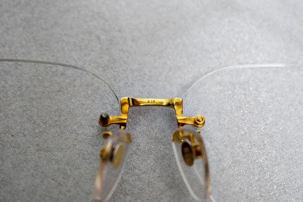 模様がカッコイイ!!鼈甲? K18高級メガネ 総重量約32g★金フレーム、度有!_画像6