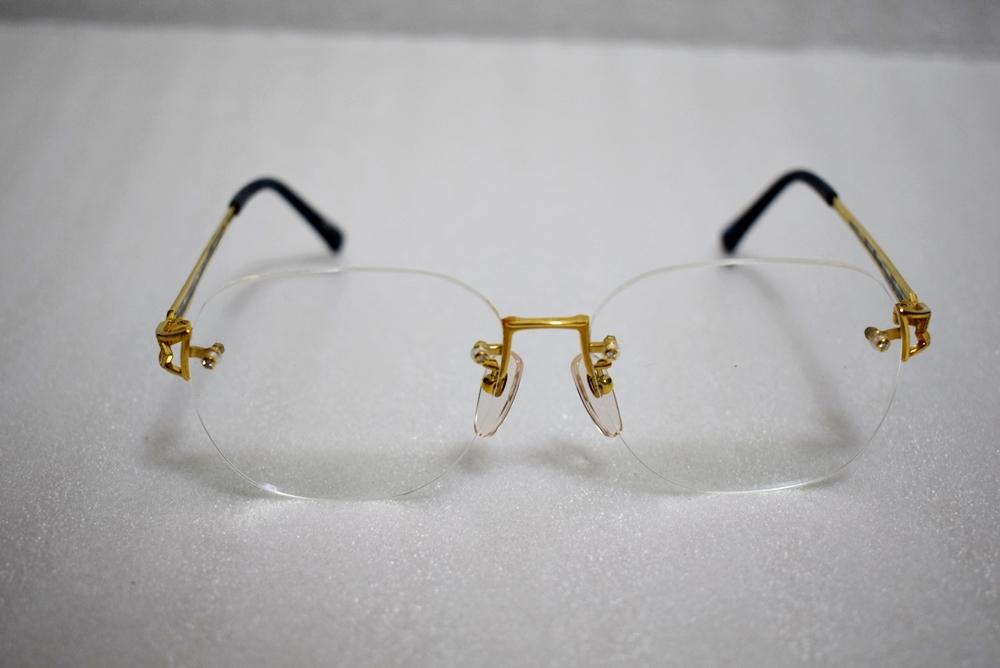 模様がカッコイイ!!鼈甲? K18高級メガネ 総重量約32g★金フレーム、度有!_画像8