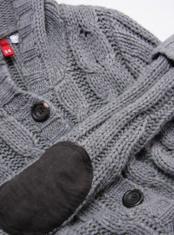 ★B179☆ H&M ケーブル編み ロングニットカーディガン フード付 グレー系 レディース トップス アウター ざっくりあたたか_画像4