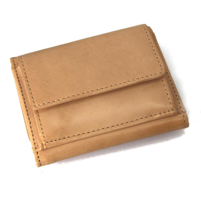 三つ折り財布 ヌメ革 本革 レザー ベージュ 原色 訳あり格安 NMS-7004-BE 残りわずか 値下げ_画像1