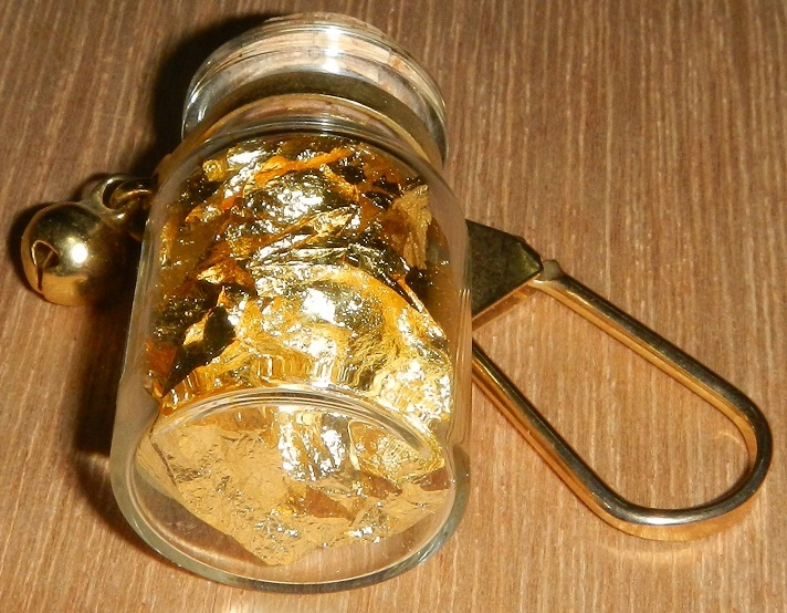 食用 金粉 お茶 酒 料理に 純金箔 食品添加物 瓶詰 ゴールド キーホルダー アクセサリ_画像2