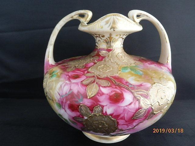 オールドノリタケ★赤茶花模様金彩盛り上げ 花瓶 メープルリーフ印 100年物_画像1