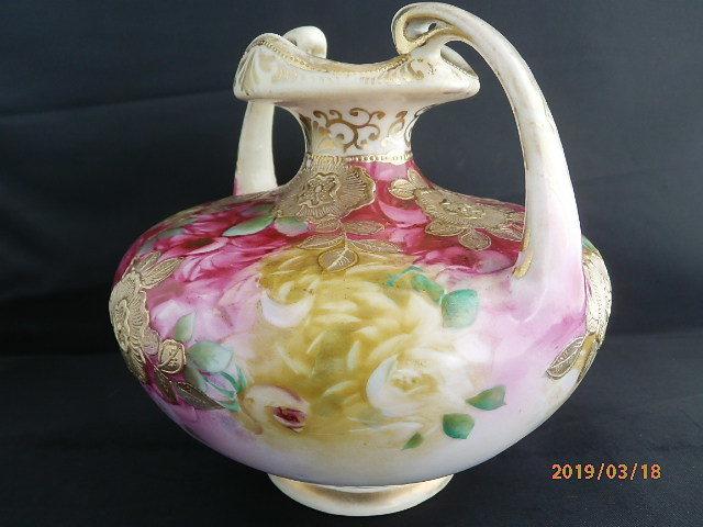 オールドノリタケ★赤茶花模様金彩盛り上げ 花瓶 メープルリーフ印 100年物_画像6