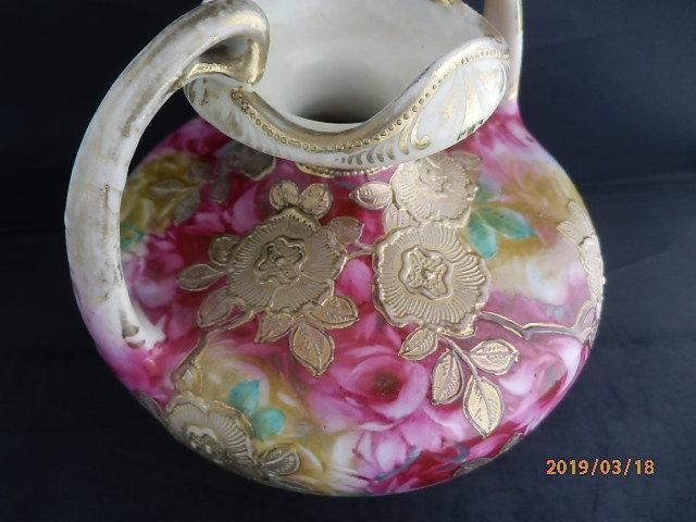 オールドノリタケ★赤茶花模様金彩盛り上げ 花瓶 メープルリーフ印 100年物_画像7