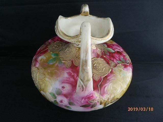 オールドノリタケ★赤茶花模様金彩盛り上げ 花瓶 メープルリーフ印 100年物_画像5