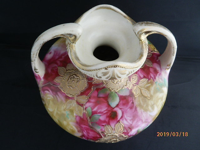 オールドノリタケ★赤茶花模様金彩盛り上げ 花瓶 メープルリーフ印 100年物_画像4