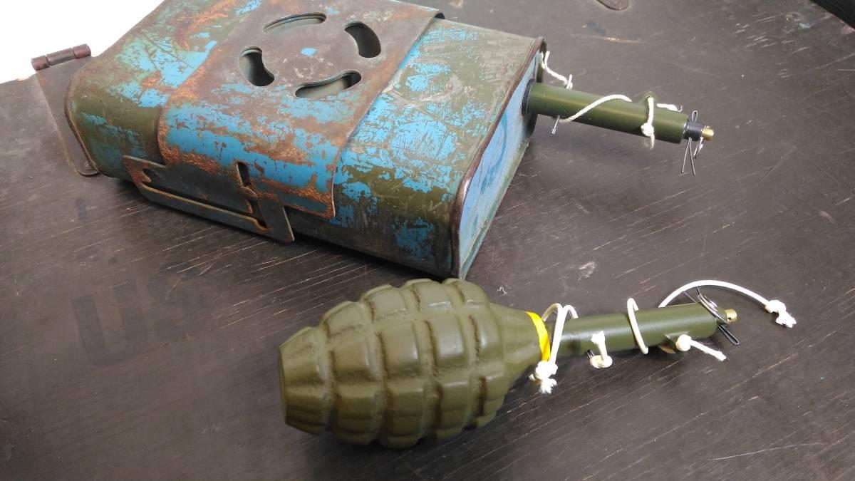 WW2 米軍 ブービートラップ 信管 起爆装置「Pull Firing Device M1」金属製レプリカ_対戦車地雷と手榴弾への取付参考写真です。