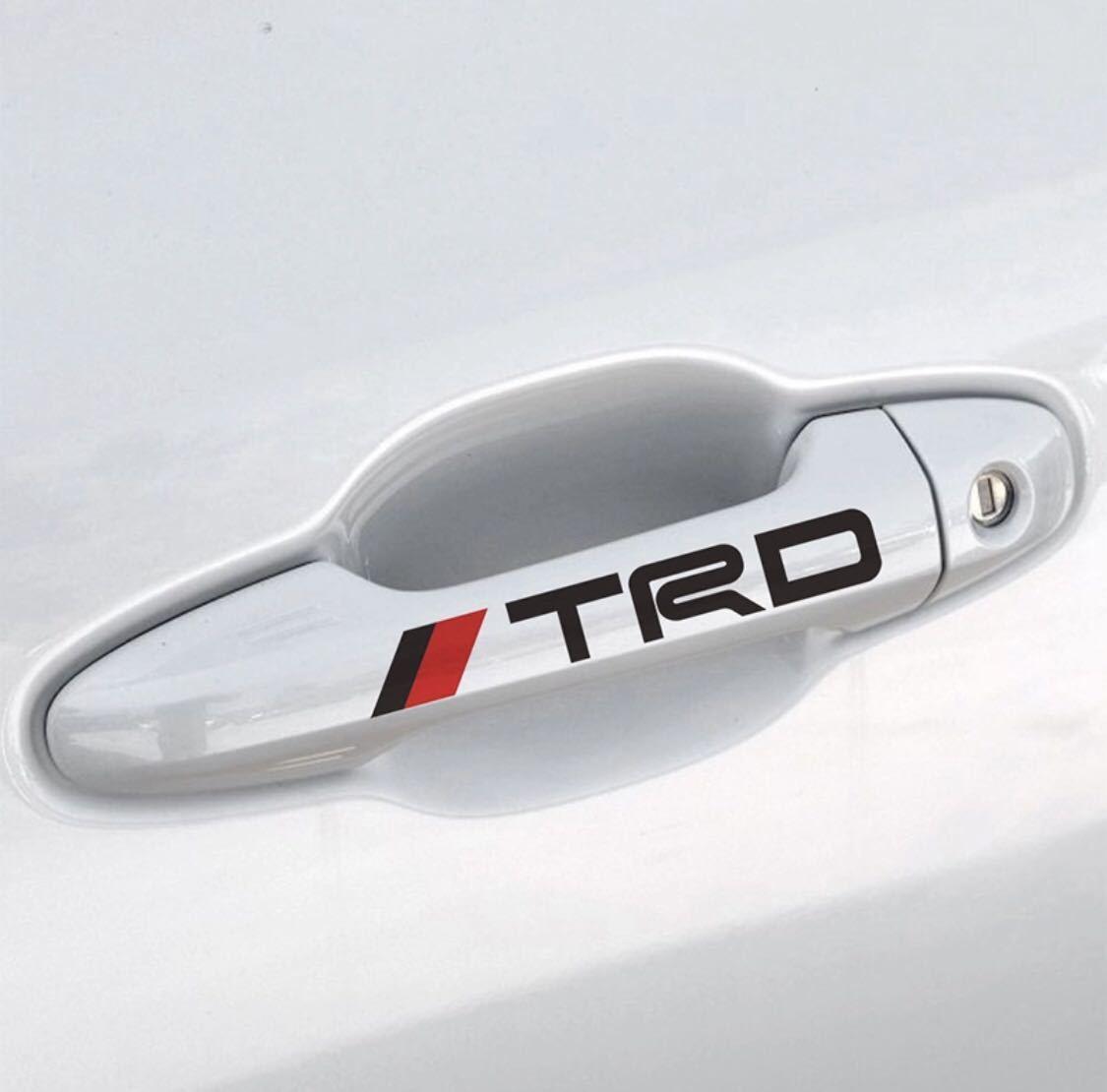 トヨタ TRD エンブレム ステッカー 黒文字 1シート4枚セット ドアノブ ドアハンドル 11㎝×1.8㎝_画像2