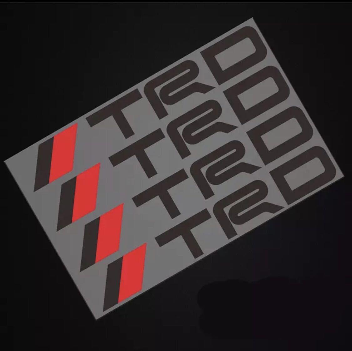 トヨタ TRD エンブレム ステッカー 黒文字 1シート4枚セット ドアノブ ドアハンドル 11㎝×1.8㎝_画像1