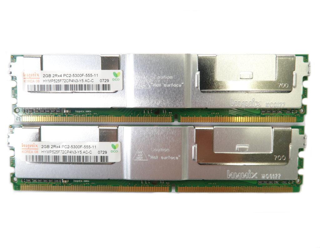 hynix 2GBx2枚セット 4GB分 PC2-5300F hp xw6400/xw8400 MacPro 2006/2007 DELL Precision 690等対応_画像1