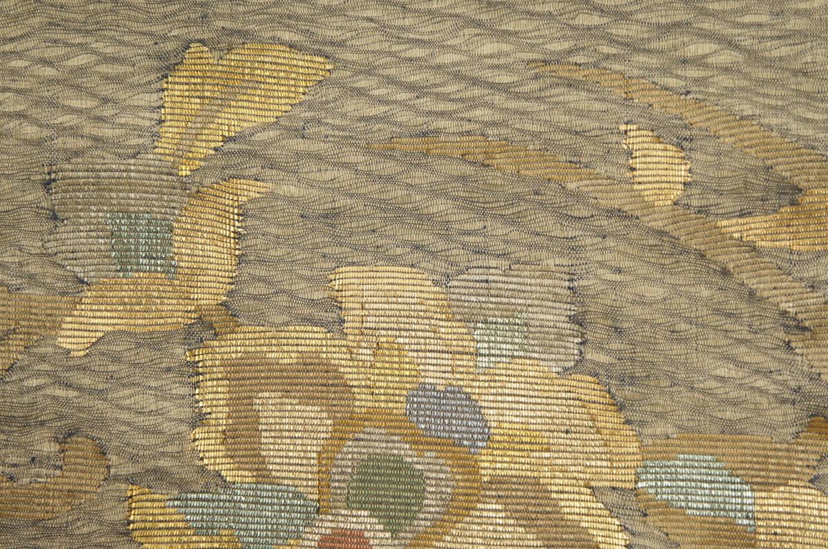 特選櫛織うす緑色金箔地抽象花模様未着用袋帯[O11179]_櫛織うす緑色金箔地抽象花模様未着用袋帯