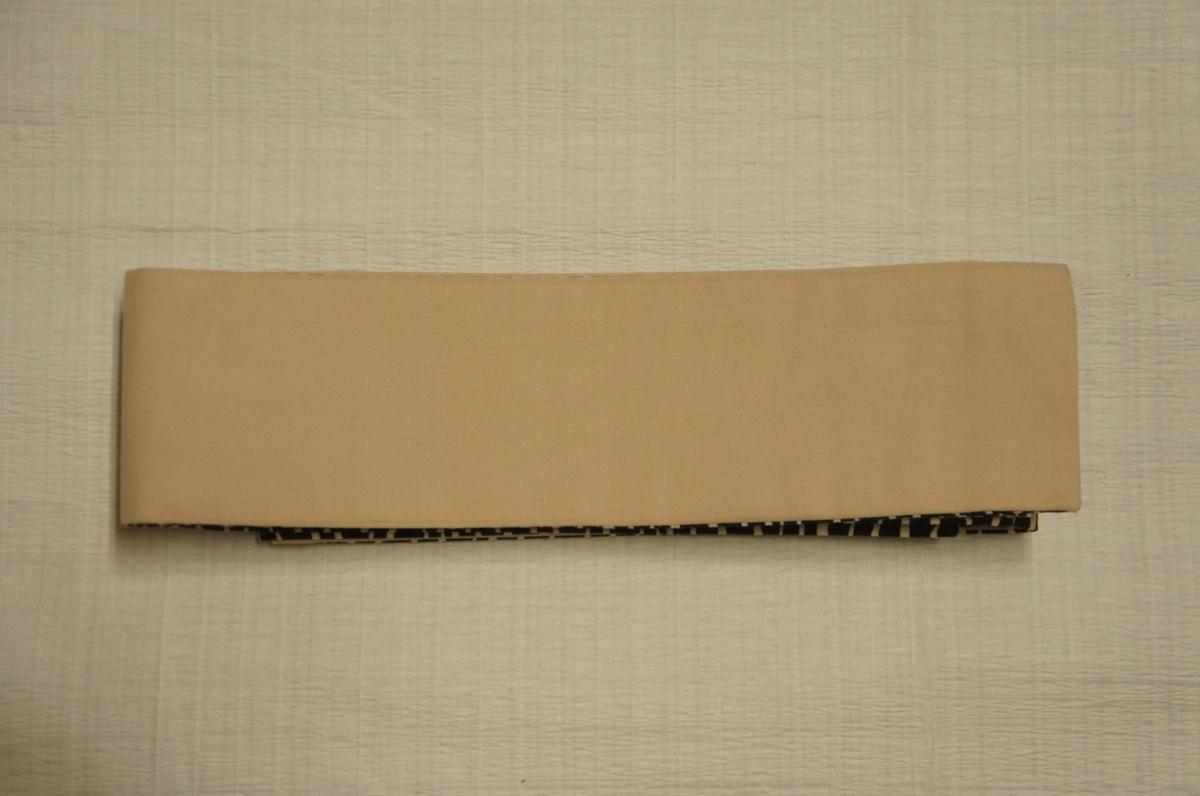 新品木綿『源氏帯』黒色地白色横波模様男物角帯[M11197]_新品木綿源氏帯黒色地白色横波模様男物角帯