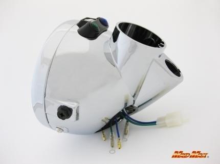 【送料800円】 MADMAX バイク用品 130φ モンキー/エイプ マルチ ヘッドライト メッキケース マルチリフレクター_画像3