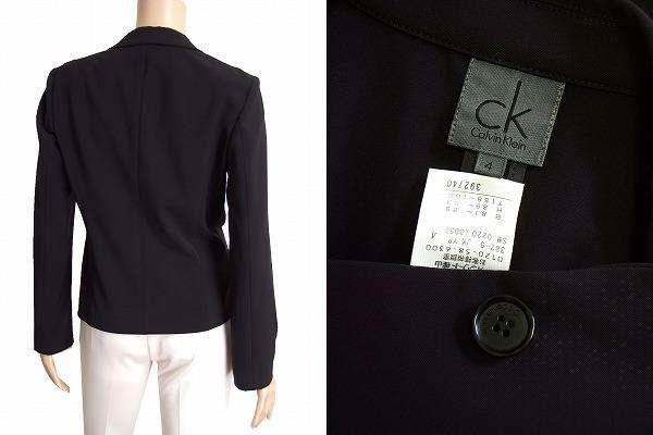 M美品/カルバンクライン Calvin Klein CK 美形テーラードジャケット 表記4号(9号/M相当) 黒/ブラック系 春夏秋向け アウター レディース_画像3