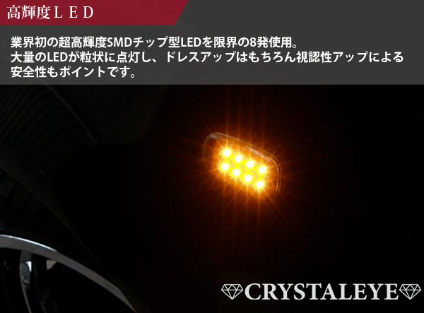 20 クルーガー(V/L) 流れるウインカー シーケンシャル LEDサイドマーカー クリアータイプ クリスタルアイ ■_画像2