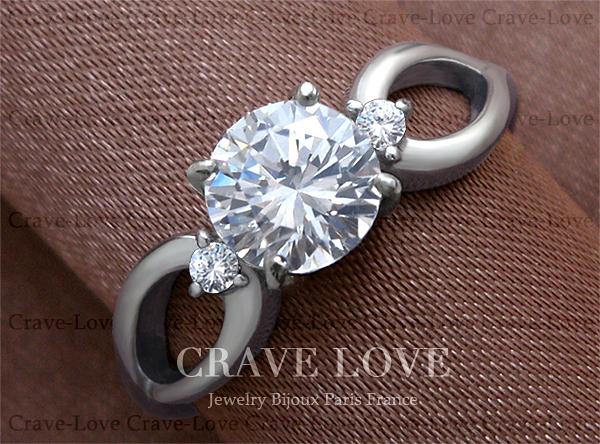 【19号】 3ストーン スプリット 曲線 ステンレス レディース リング   指輪 女性 立爪 おしゃれ シルバーリング 人気 ファッションリング