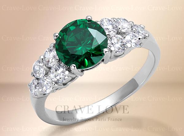 【9号】 エメラルド グリーン カラー パヴェ リング 指輪 | 豪華で華やか 女性 レディース ファッションリング 5月誕生石 緑色 CRAVE-LOVE_画像1