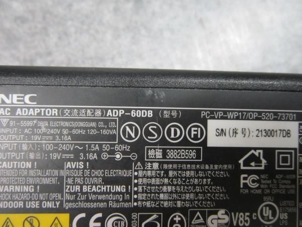純正※NEC ACアダプタ ADP-60DB PC-VP-WP17 19V 3.16A※動作保証_画像2