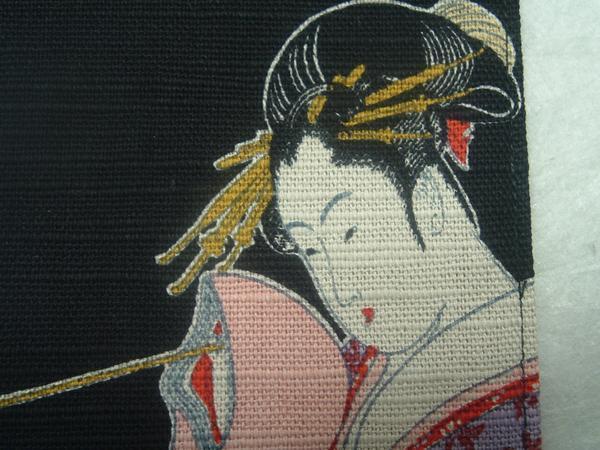 1126 綿 浮世絵 コースター「黒・キセル」-_画像2