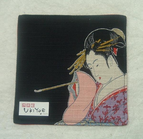 1126 綿 浮世絵 コースター「黒・キセル」-_画像1