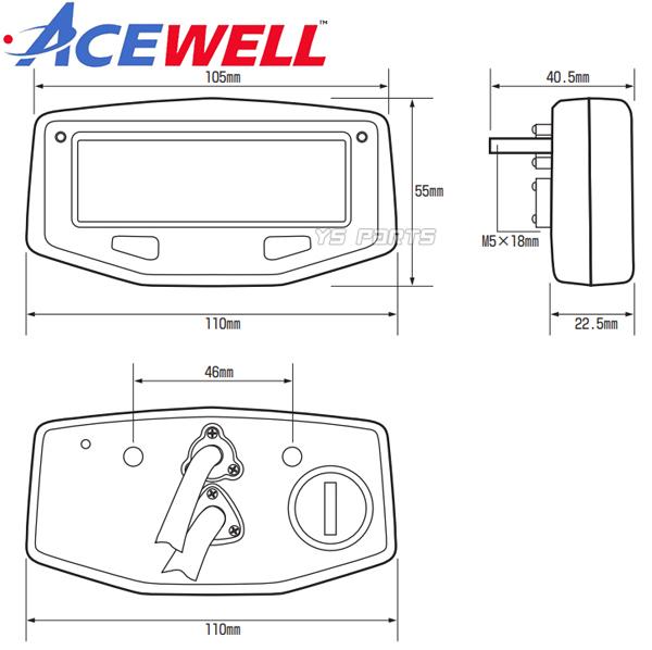 [1万回転/2万回転表示切替可能]ACEWELL完全防水マルチメーターSR400/TW225/セロー225/セロー250[電圧計/時計/水油温計/タコメーター機能]_画像10
