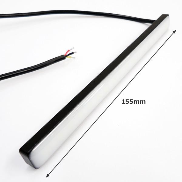 メール便 LED 計72連 シーケンシャル 流れる ウインカー 薄型 スティック デイライト 2個 レッド/アンバー リアマーカー 汎用[P]/c22_画像6