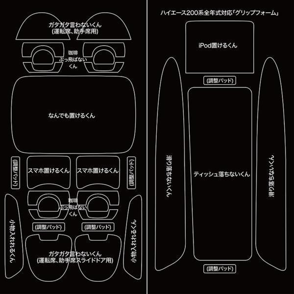 ハイエース200系 4型~全年対応 内装 室内パーツ ラバーマット パネル 振動防止 防音 コンソール グリップフォーム_ハイエース200系 グリップフォーム