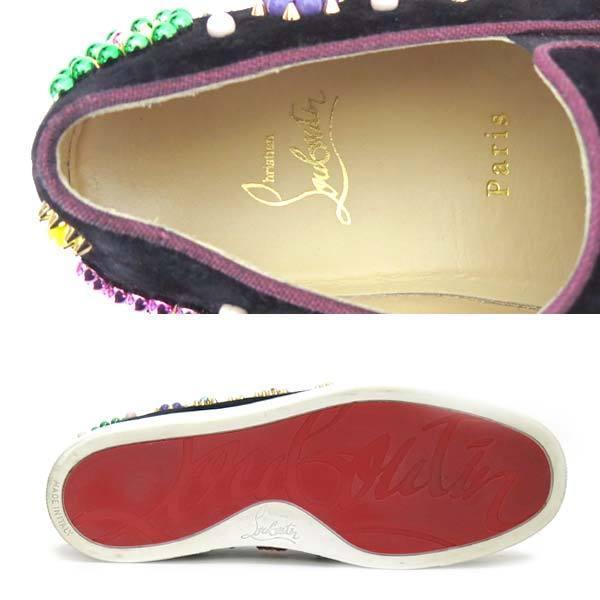 Christian Louboutin スウェードスリッポン size38 ブラック Boat Candy 20 Suede Slip-on Sneaker クリスチャンルブタン ビジュー_画像4