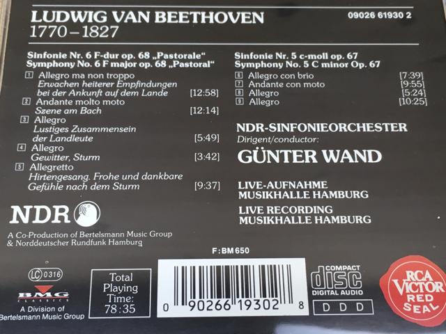 中古CD ギュンター・ヴァント ベートーヴェン交響曲第6番「田園」&第5番「運命」 NDR交響楽団 輸入盤/YAE326_画像3