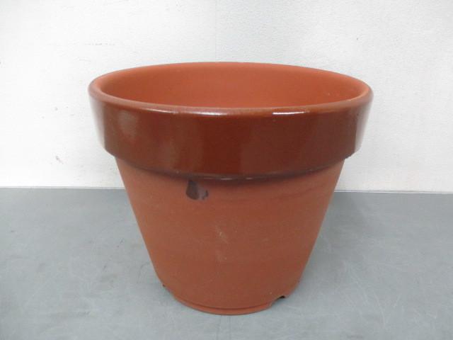 ほ34 丸型 植木鉢 プランター 陶器 園芸 庭 ガーデニング 約30×25cm_画像1