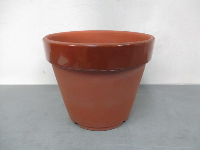 ほ33 丸型 植木鉢 プランター 陶器 園芸 庭 ガーデニング 約30×25cm_画像1