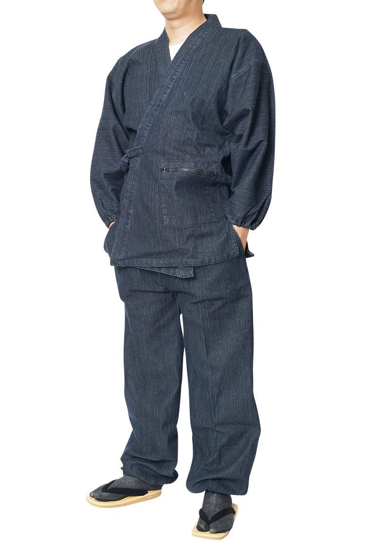【ひめか】作務衣 メンズ デニムストレッチ作務衣 さむえ 黒LL_画像1
