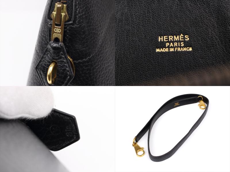 HERMES【エルメス】ボリード35 アルデンヌ 黒 〇V刻印 ゴールド金具 ショルダーストラップ付_画像7