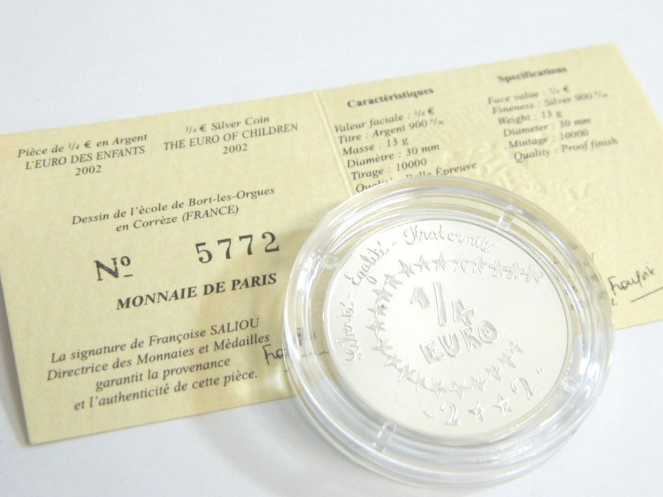 MONNAIE DE PARIS 2002 2003年 銀貨4種セット シルバー 750 K18 コンビ フランス銀貨セット モネドパリ プルーフ記念銀貨 4枚セット ケース_画像4
