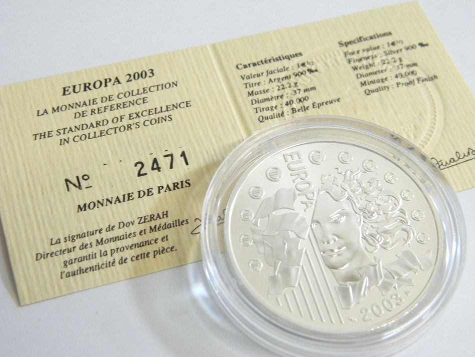 MONNAIE DE PARIS 2002 2003年 銀貨4種セット シルバー 750 K18 コンビ フランス銀貨セット モネドパリ プルーフ記念銀貨 4枚セット ケース_画像8
