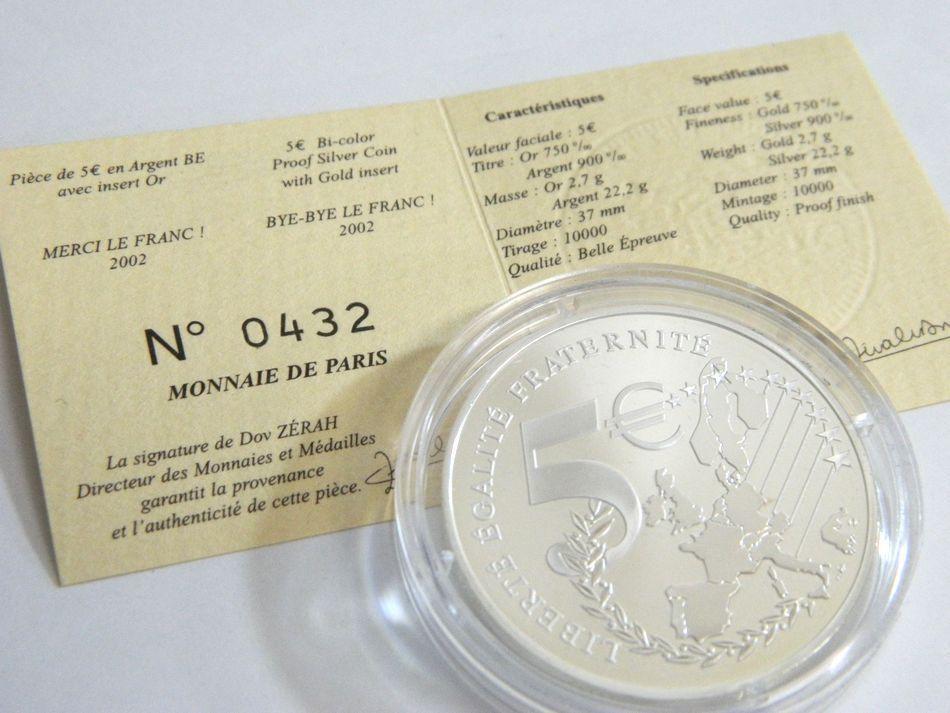 MONNAIE DE PARIS 2002 2003年 銀貨4種セット シルバー 750 K18 コンビ フランス銀貨セット モネドパリ プルーフ記念銀貨 4枚セット ケース_画像10