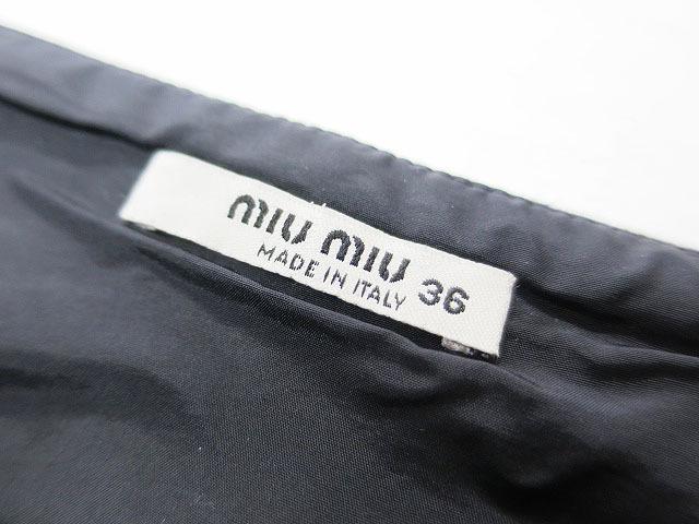 【即決】MIU MIU ミュウミュウ ウール台形スカート ブラック 36 レディース al1705b_画像3