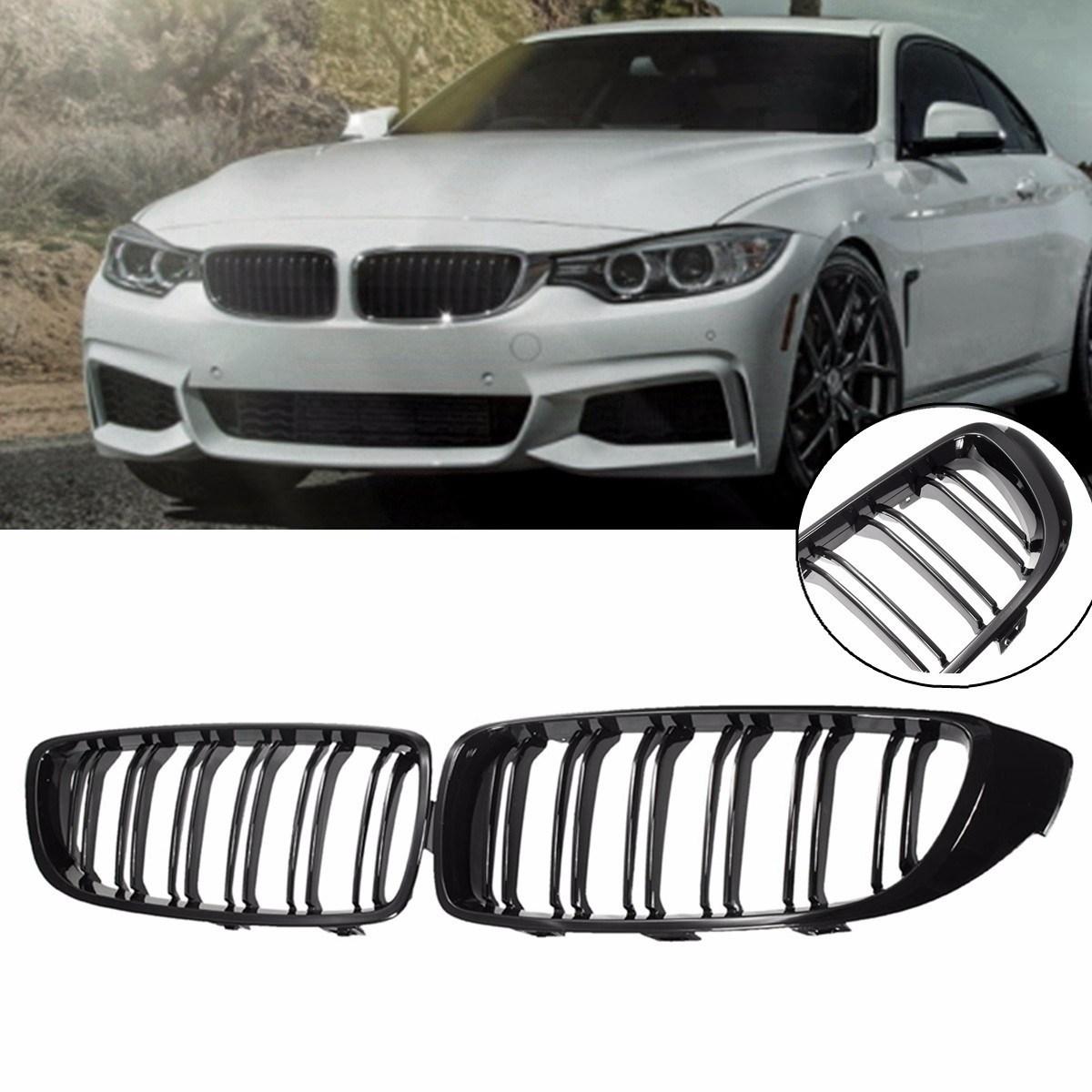 BMW キドニー グリル 本体 フロント バンパー カバー 4シリーズ用 F34F32F33F36 F83F82 M4 Mスポーツなど 黒 ブラック 艶あり ダブルフィン_画像1